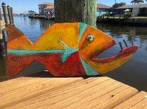 wood plank art wood painting art fish art blue unique fish art wooden coastal decor beach wall art coastal wall art beach themed wall art canvas art whimsical fish art