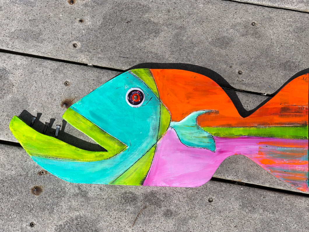 Painted Wooden Sun Fish