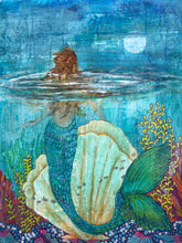 Mermaid gazing at the moon with view of the coral reef in the ocean.  Texture aqua and blues highlight the mermaid