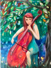 Red headed girl with cello, music painting, girl with cell painting, cello painting, music themed painting