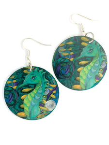 seahorse earrings seahorse jewelry seahorse art ocean art ocean jewelry blue earrings