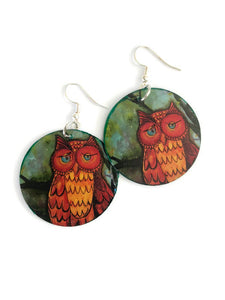 owl earrings owl earring owl jewelry paper earrings lightweight earrings unique earrings jewelry