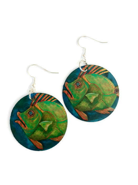 fish earrings paper earrings fish jewelry fish earring ocean earrings unique jewelry lightweight earrings