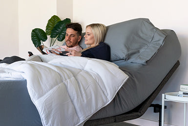 Couple on Bed In a Box Adjustable Bed Frame and Mattress