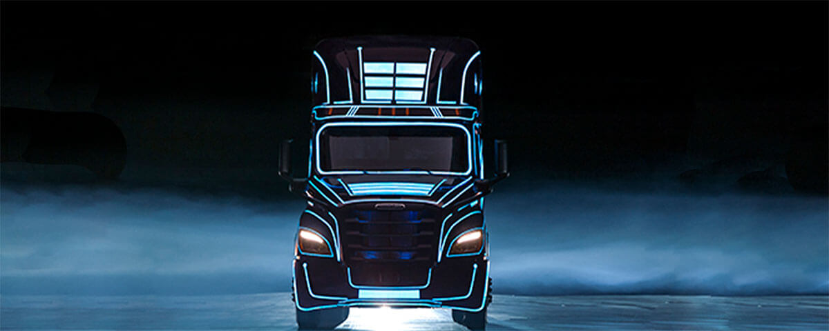 Black and Blue Freightliner eCascadia