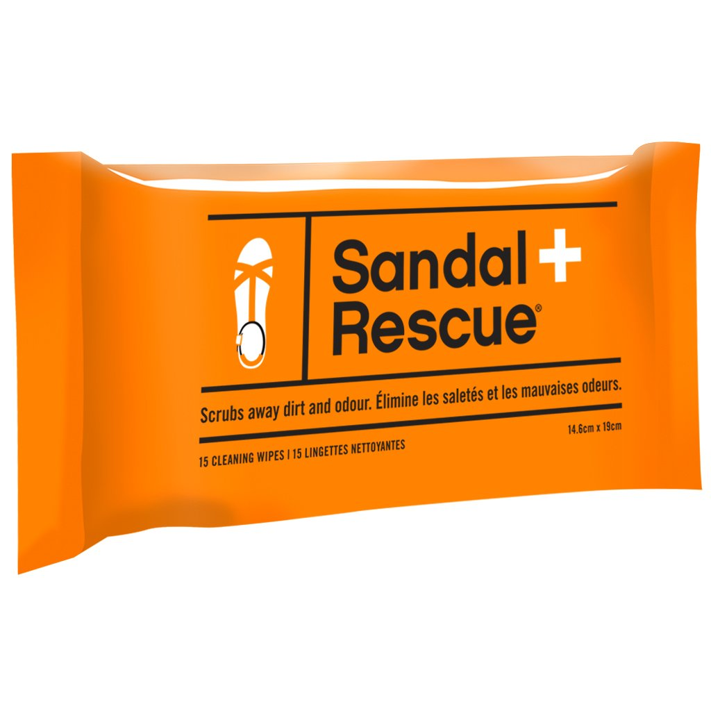 SandalRescue All-Natural Sandal Cleaning Wipes - Resealable Pack of 15