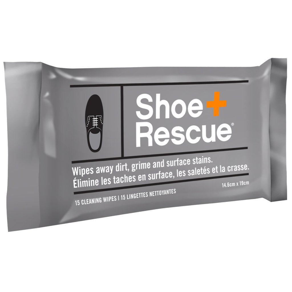 ShoeRescue All-Natural Shoe Cleaning Wipes - Resealable Pack of 15