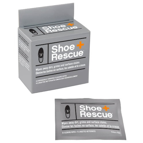 ShoeRescue All-Natural Shoe Cleaning Wipe, Box of 10 Individually Wrapped Wipes