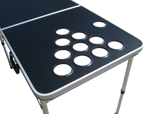 Blank Black Customizable Beer Pong Table With Holes