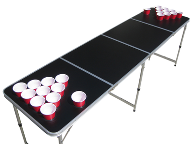 Blank Black Customizable Beer Pong Table With Holes - Beer Pong Table