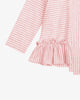 Pink Stripes - High-Low Striped Ruffled Shirt | Blara Organic House | Sustainable Fashion for Girls
