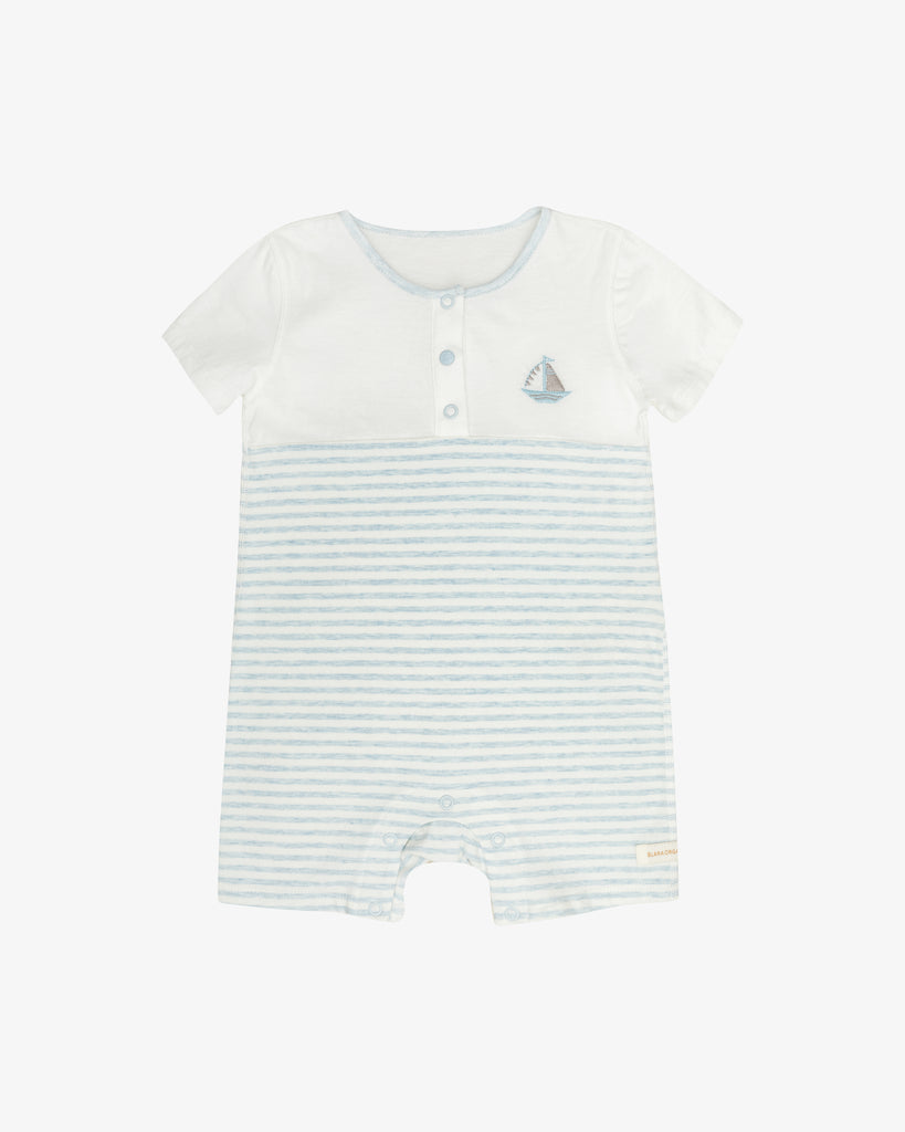 White and Blue Stripes - Playtime Sailboat Embroidered Romper | Blara Organic House | Sustainable Baby Clothing