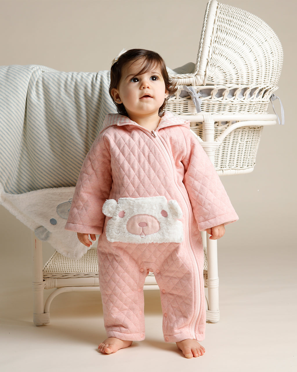 FLUFFY BEAR POCKET ROMPER