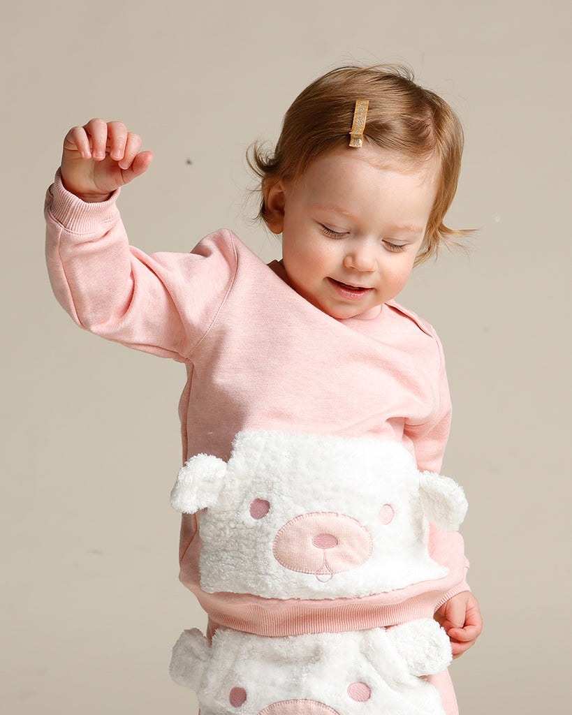 FLUFFY BEAR POCKET SWEATSHIRT