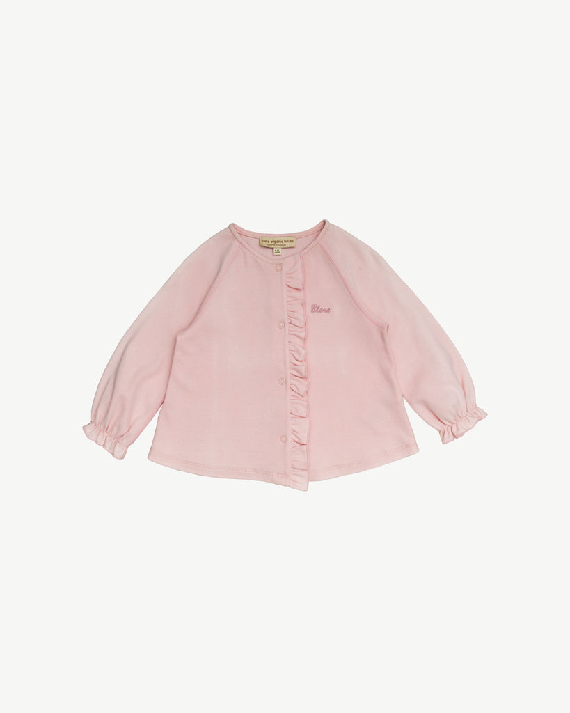 PINK RUFFLE INTERLOCK CARDIGAN