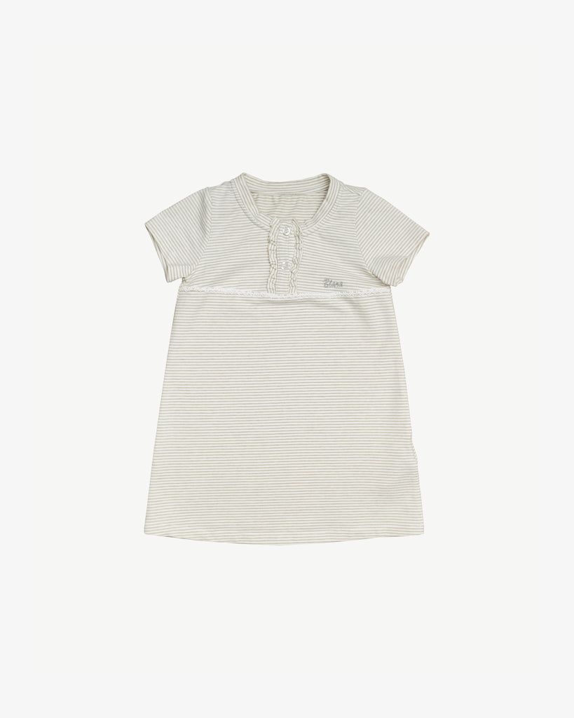 Grey Stripes - Good Evening Nightgown - Ruffled Placket | Blara Organic House | Sustainable Fashion for Girls