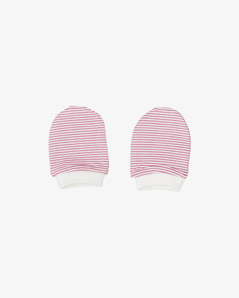 Basic Baby Mitts in Pink Stripes for Winter | Blara Organic House | Sustainable Baby Clothing
