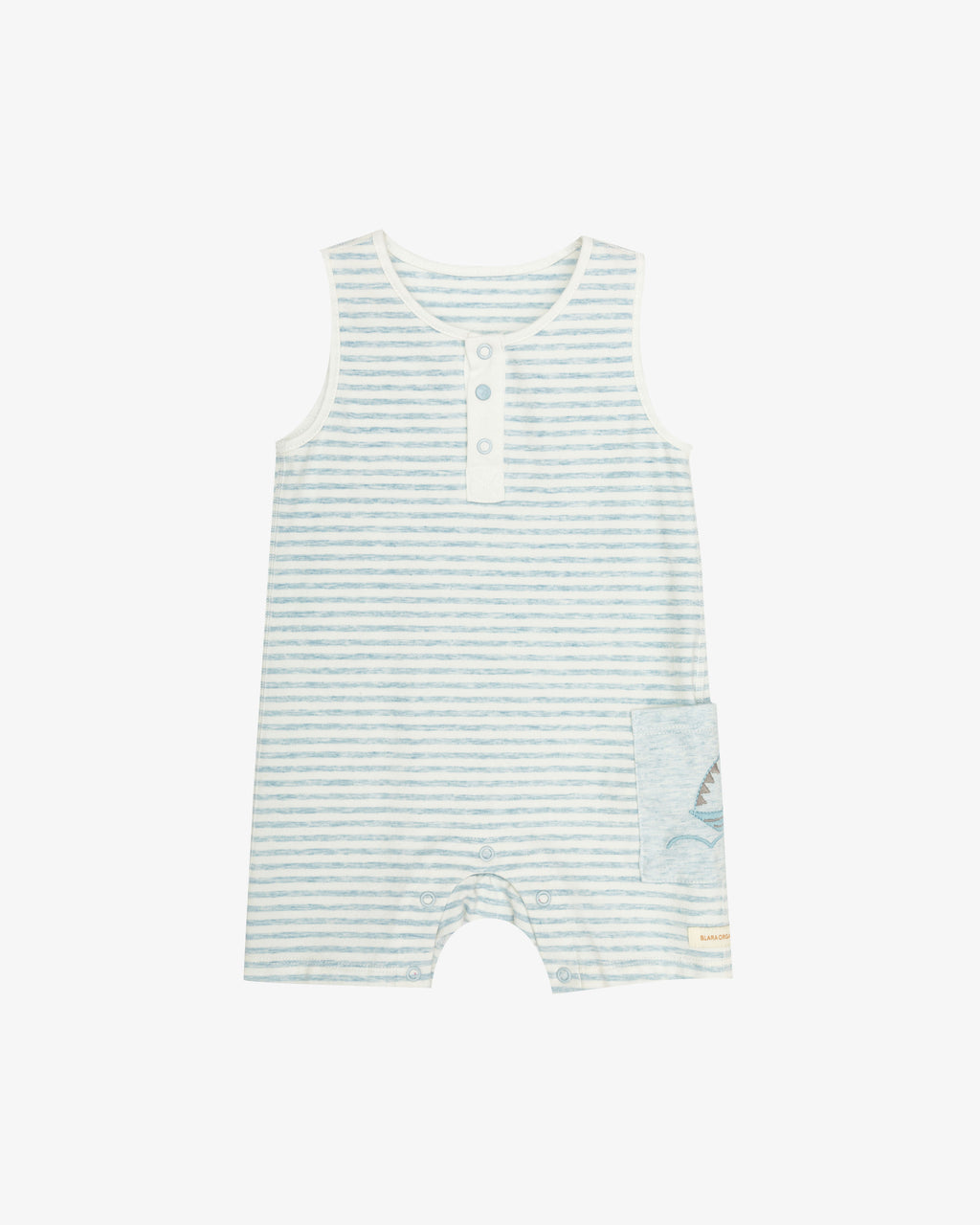 Blue Stripes - Shorty Short Sail Romper - Side Pocket | Blara Organic House | Sustainable Baby Clothing
