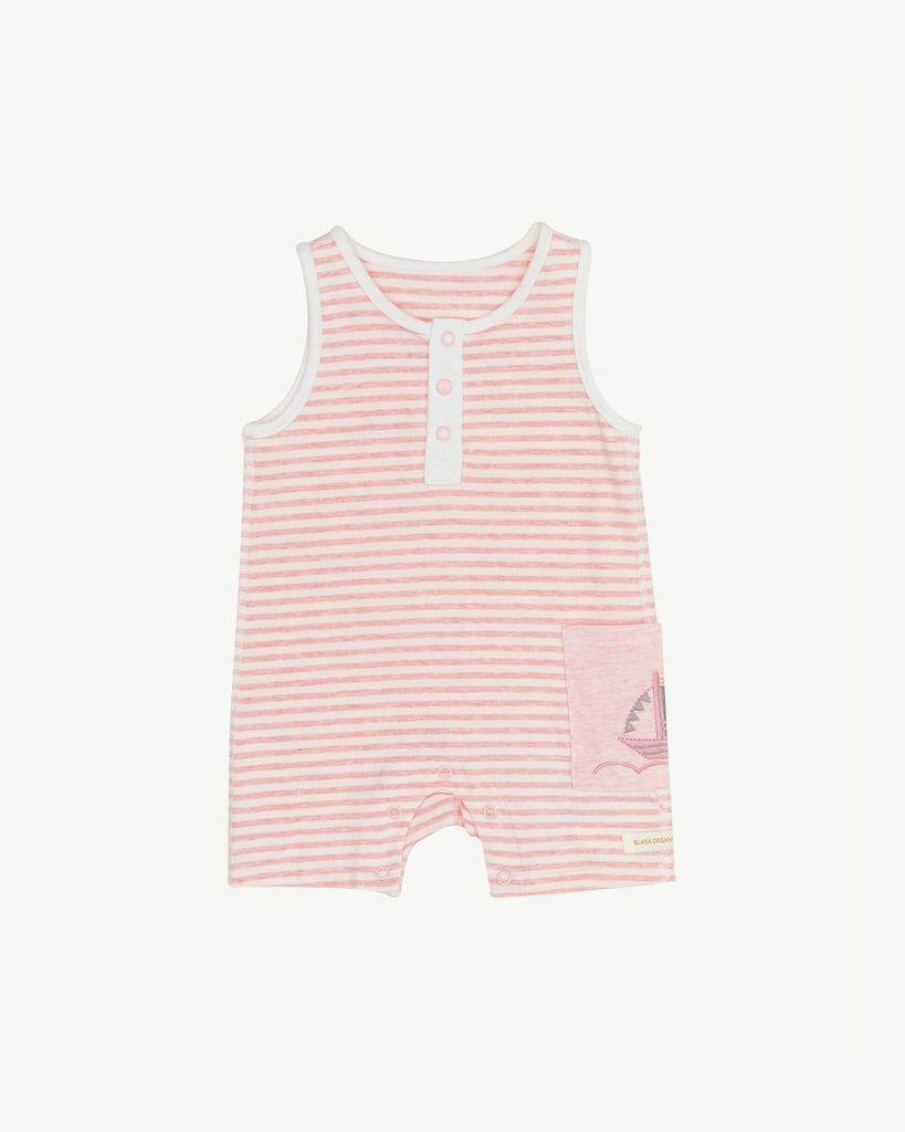 Pink Stripes - Shorty Short Sail Romper - Side Pocket | Blara Organic House | Sustainable Baby Clothing