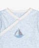 Sky Blue - Easy-on-sail Bodysuit with Sailboat Embroidery | Blara Organic House | Sustainable Baby Clothing