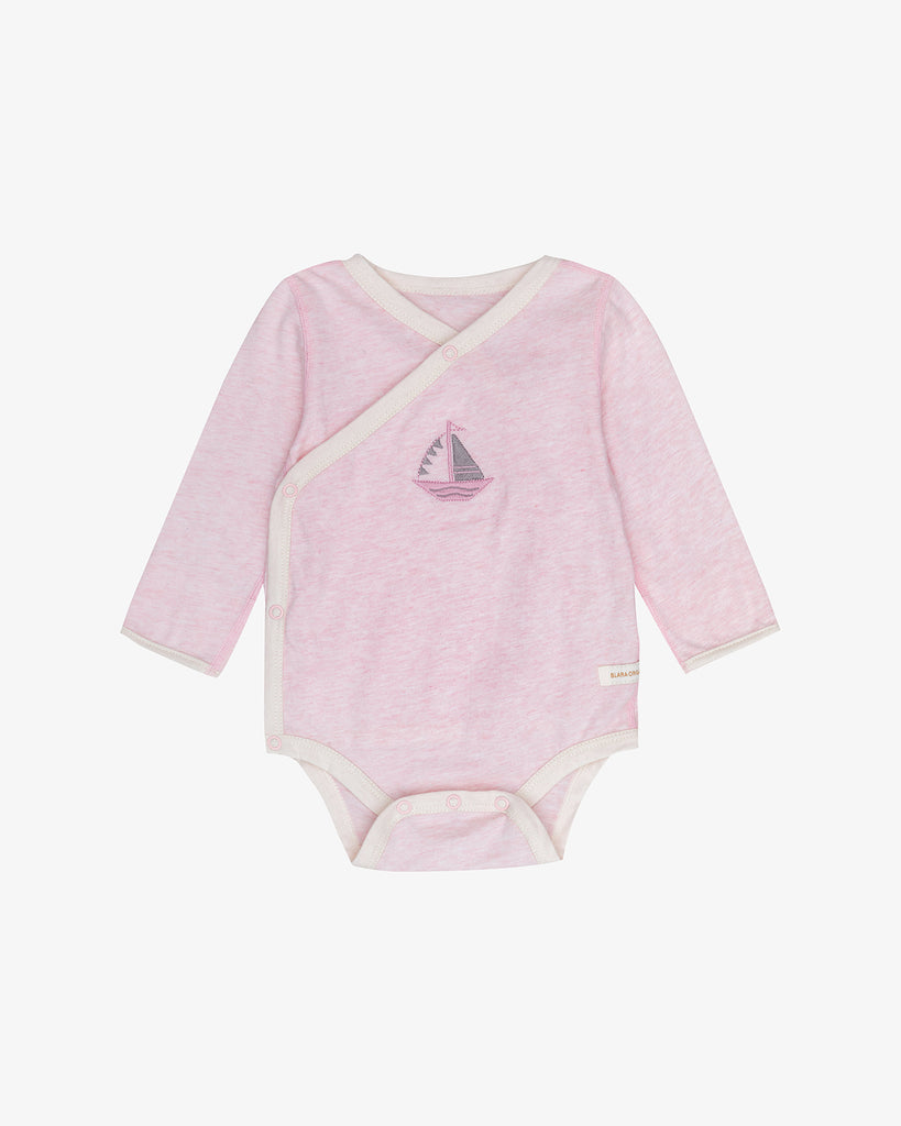Ballet Pink - Easy-on-sail Bodysuit with Sailboat Embroidery | Blara Organic House | Sustainable Baby Clothing