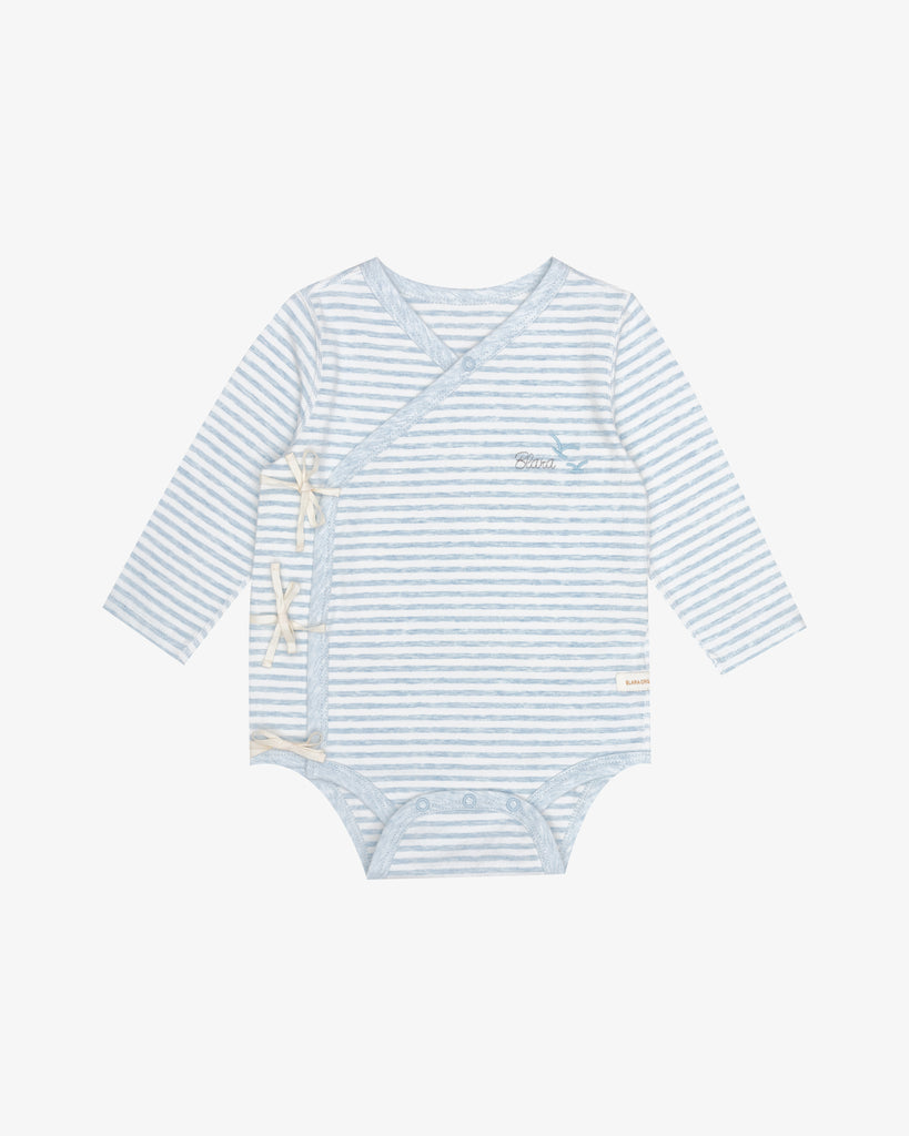 Blue Stripes - Kimono Style Bodysuit with Embroidery | Blara Organic House | Sustainable Baby Clothing