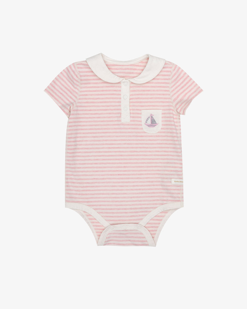 Pink Stripes - Peter Pan Sailboat Embroidery Bodysuit | Blara Organic House | Sustainable Baby Clothing