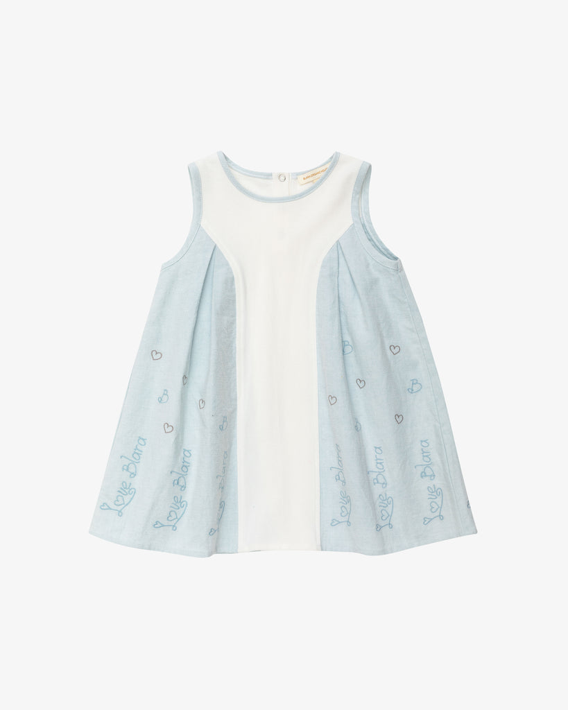 Cute A-line Day Dress - Blue - Embroideries| Blara Organic House | Sustainable Fashion for Girls