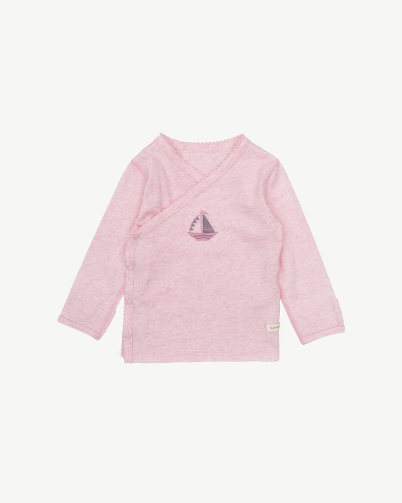 Pink - Sailboat Embroidery Kimono Shirt Snap Buttons | Blara Organic House | Sustainable Baby Clothing