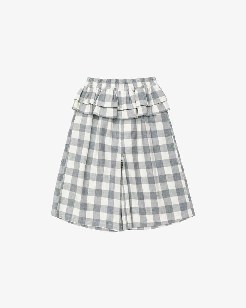 Grey Checkered Peplum Pants with Ruffled Details | Blara Organic House | Sustainable Fashion for Girls