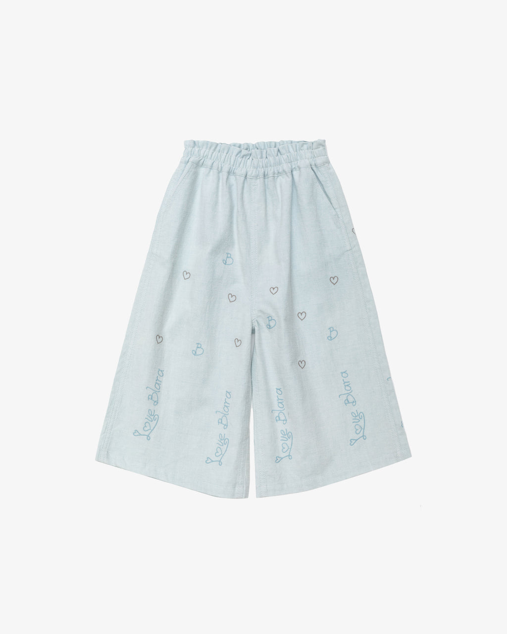 Blue with Embroidery - Love Blara Culotte | Blara Organic House | Sustainable Fashion for Girls