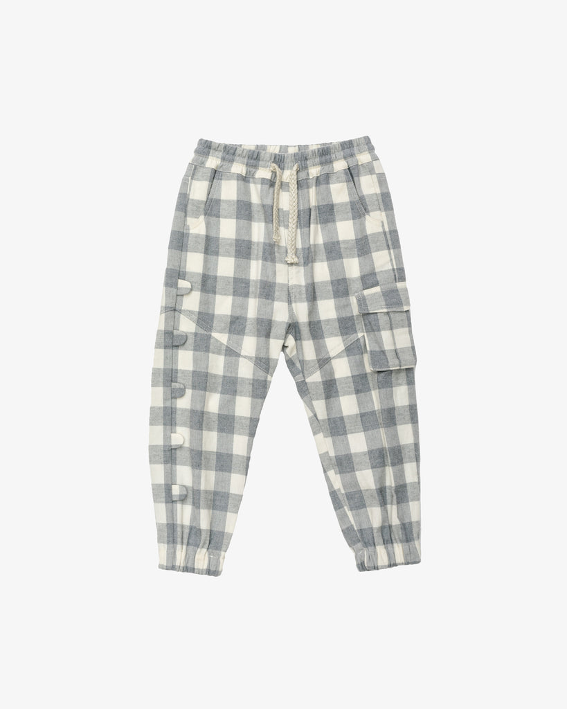 Grey Checkered - Jumpy Cargo Sweatpants | Blara Organic House | Sustainable Fashion for Boys