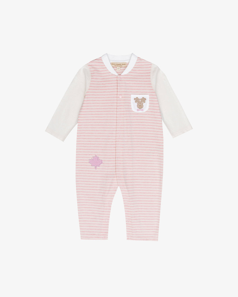 White and Pink Stripes - Canadian Deer Jersey Embroidered Coverall | Blara Organic House | Sustainable Baby Clothing