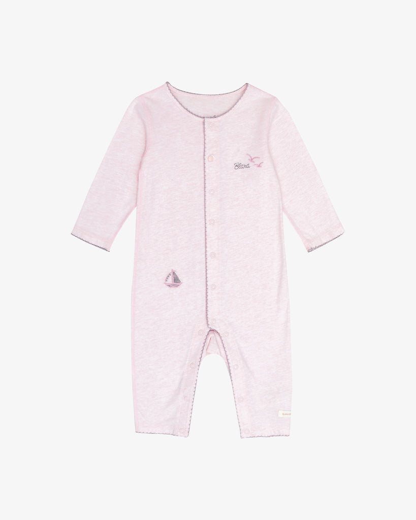 Pink Cotton - Long Sleeves - Long Sail Embroidered Romper | Blara Organic House | Sustainable Baby Clothing