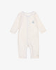 Natural Cotton with Blue Accents - Peaceful Sail Romper | Blara Organic House | Sustainable Baby Clothing
