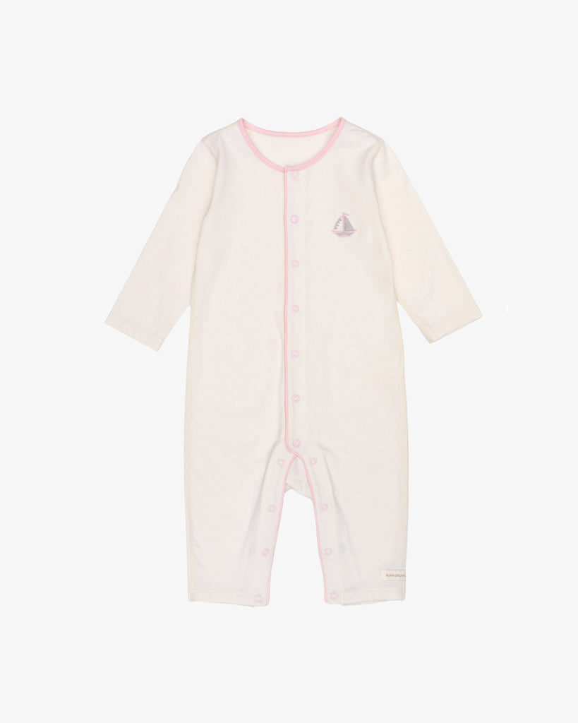 Natural Cotton with Pink Accents - Peaceful Sail Romper | Blara Organic House | Sustainable Baby Clothing