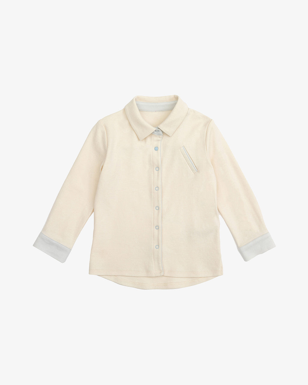 Natural Cotton - Gentle Boy Shirt with Contrasting Grey | Blara Organic House | Sustainable Fashion for Boys
