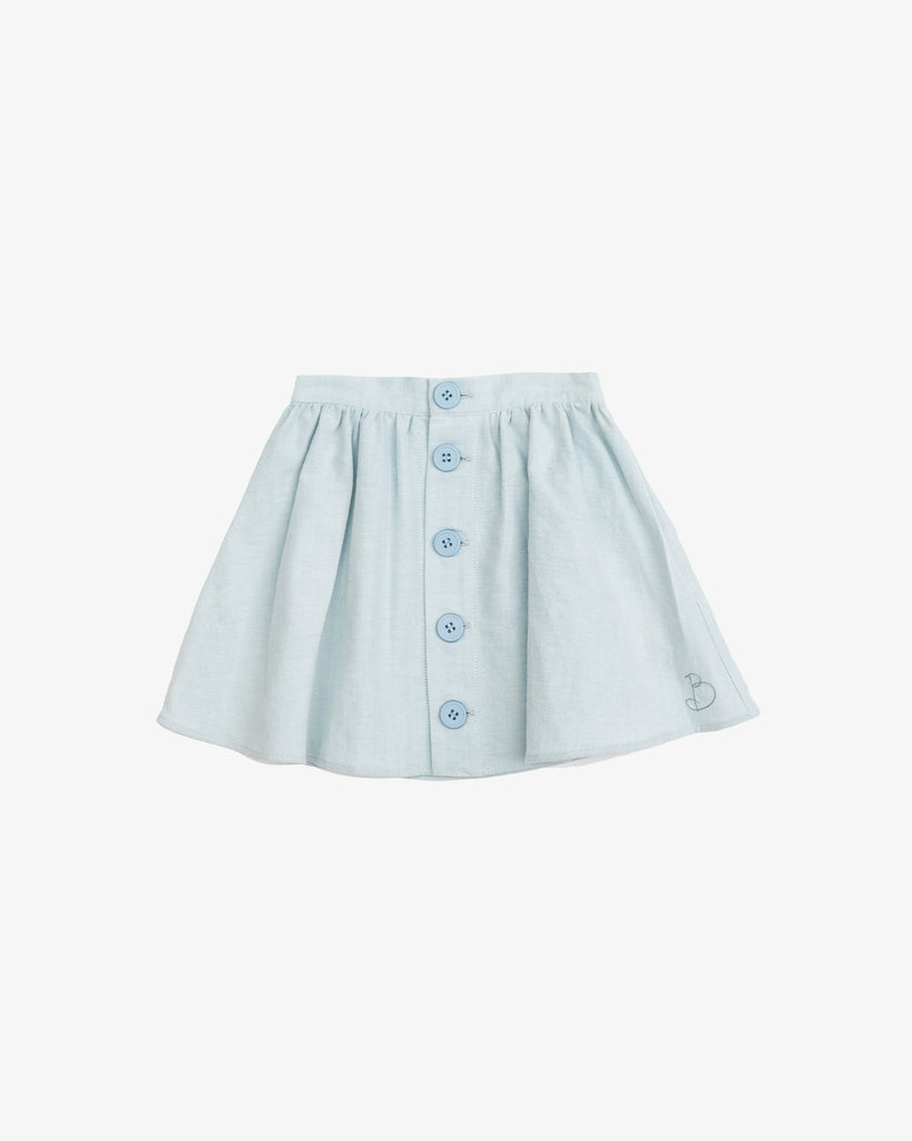 Blue Blara Spring Skirt with Front Buttons | Blara Organic House | Sustainable Fashion for Girls