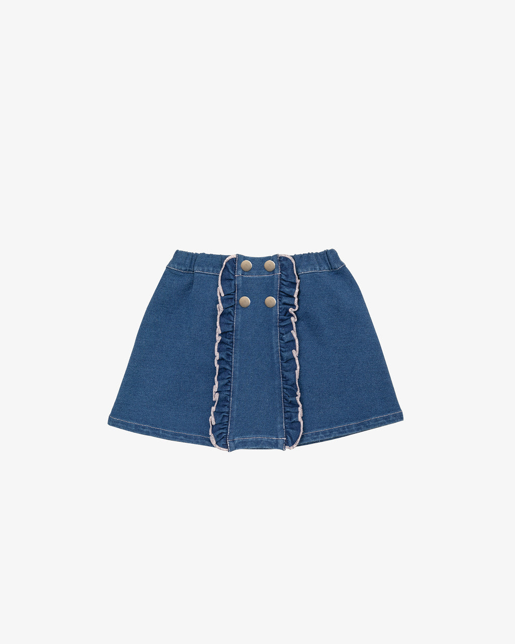 DENIM RUFFLE SHORT SKIRT
