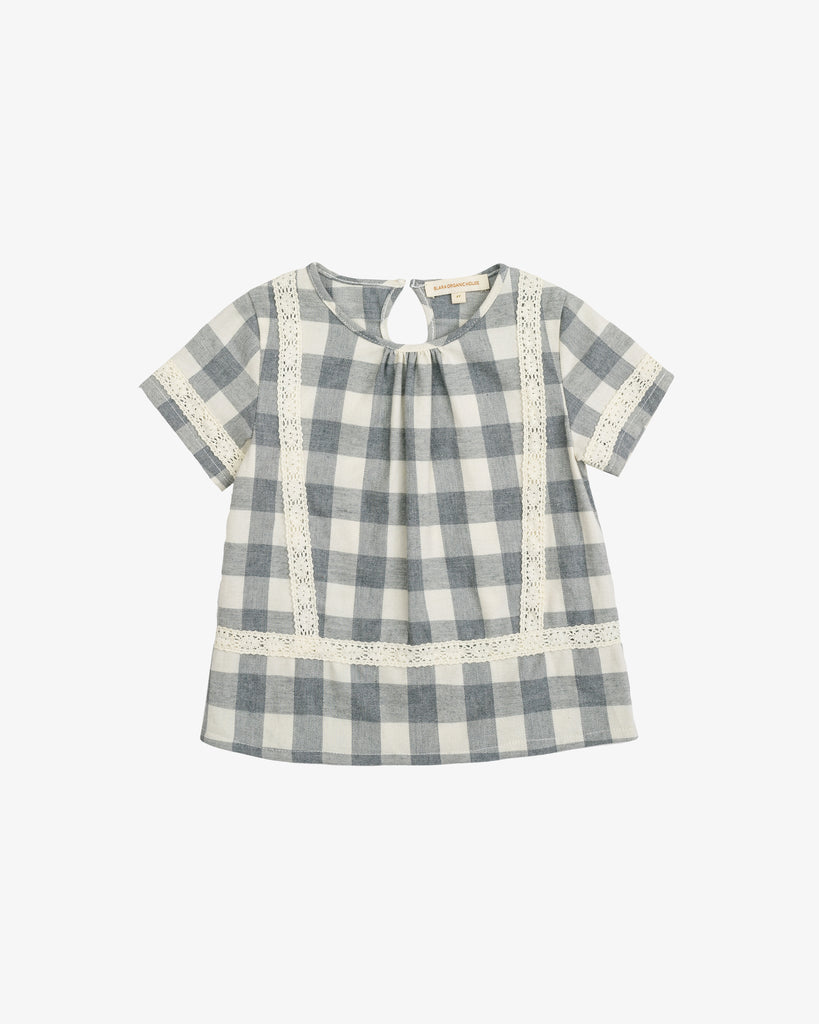 Grey Check Boxy Blouse With Lace Details | Blara Organic House | Sustainable Fashion for Girls