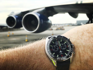 747 - Stainless Steel, Black Dial - Bristol Aviator Watches, Bristol Watch Company, www.bristolwatchcompany.com