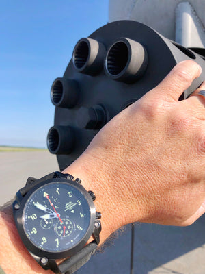 A-10 Thunderbolt Tribute - Gunmetal Finish, Leather Band