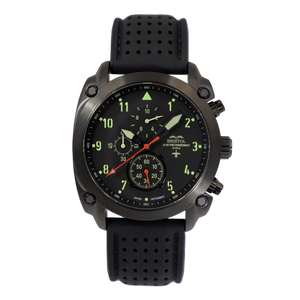 A-10 Thunderbolt - Black Finish, Black Silicone Band - Bristol Aviator Watches, Bristol Watch Company, www.bristolwatchcompany.com