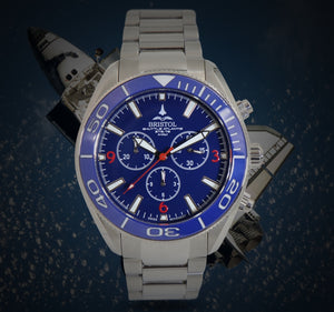 Space Shuttle Atlantis - Stainless Steel, Blue Dial - Bristol Aviator Watches, Bristol Watch Company, www.bristolwatchcompany.com