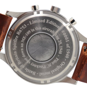Spitfire - Stainless Steel, Brush Finish, Brown Leather Band