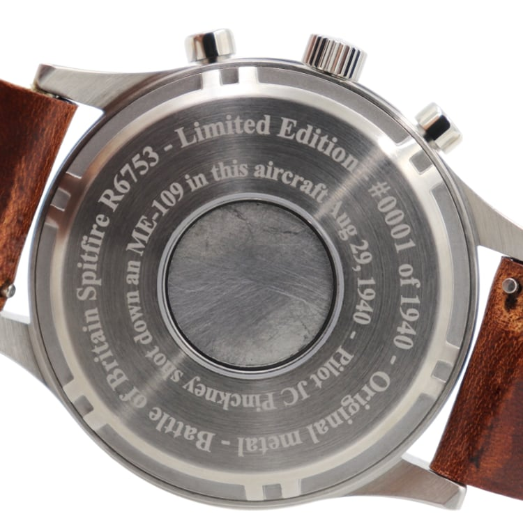 Spitfire - Stainless Steel, Polished Finish, Brown Leather Band