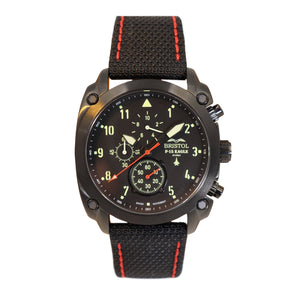 F-15 Eagle, Black Finish, Kevlar Band - Bristol Aviator Watches, Bristol Watch Company, www.bristolwatchcompany.com