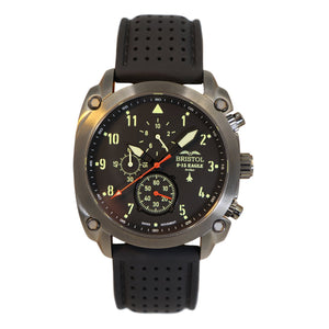 F-15 Eagle - Gunmetal Finish, Silicone Band - Bristol Aviator Watches, Bristol Watch Company, www.bristolwatchcompany.com
