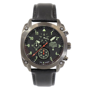 F-15 Eagle - Gunmetal Finish, Leather Band - Bristol Aviator Watches, Bristol Watch Company, www.bristolwatchcompany.com