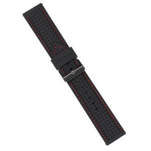 Strap - Black Silicone Strap - Red Stitching - 24mm - Bristol Aviator Watches, Bristol Watch Company, www.bristolwatchcompany.com